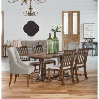 Magnolia Homes Dining Room Furniture   Traditional Iron Trestle Table, Two  Demi Wing Upholstered Chairs, And Four Revival Side Chairs