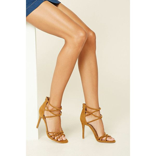 Forever21 Velvet Strappy Stilettos ($30) ❤ liked on Polyvore featuring shoes, camel, high heel stilettos, platform shoes, strappy high heel shoes, cushioned shoes and high heeled footwear