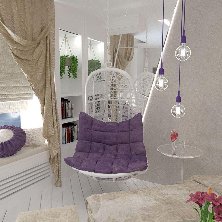 дизайн зоны отдыха в спальне, дизайн интерьера, кресло яйцо, кресло качели, rest zone design