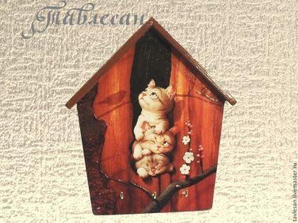 """Прихожая ручной работы. Ярмарка Мастеров - ручная работа. Купить Ключница домик настенная  """"Котятки"""" в прихожую декупаж. Handmade. Ключница"""