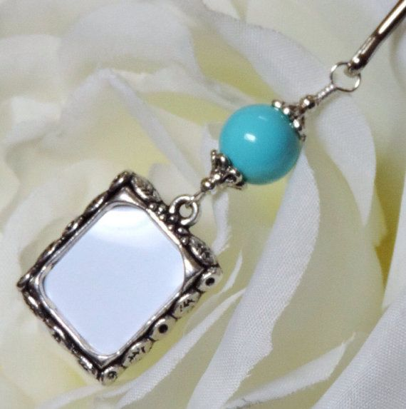 Sky blue Wedding bouquet photo charm. Something blue for the bride to be handmade by SmilingBlueDog