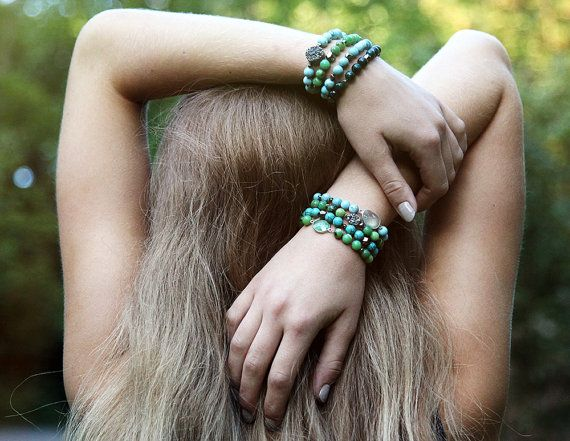 Chinese chrysoprase and green chalcedony accent bracelet by Rosehip Jewelry