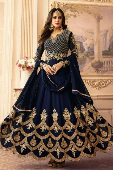 Stylish Blue Georgette Anarkali Churidar Suit With Dupatta - DMV15386 #bluedresses #georgettesuits #anarkalisuits #salwarkameez #eid2018 #eid