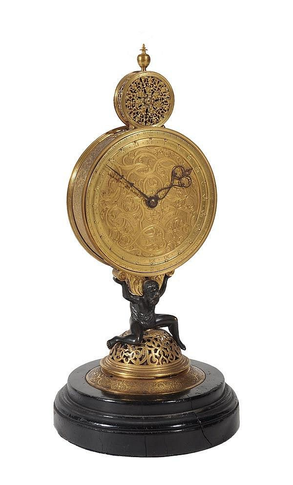 German Renaissance gilt brass astronomical monstrance table clock, in the manner of Jeremiah Metzger, Augsburg, c. 1570