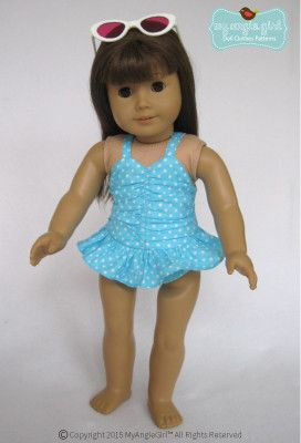 My Angie Girl Sun Bathing Cutie Doll Clothes Pattern 18 inch American Girl Dolls | Pixie Faire