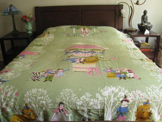 Vintage Wizard Of Oz Bedspread Twin Blanket Coverlet Kinder Bedding Throw For Child S Room