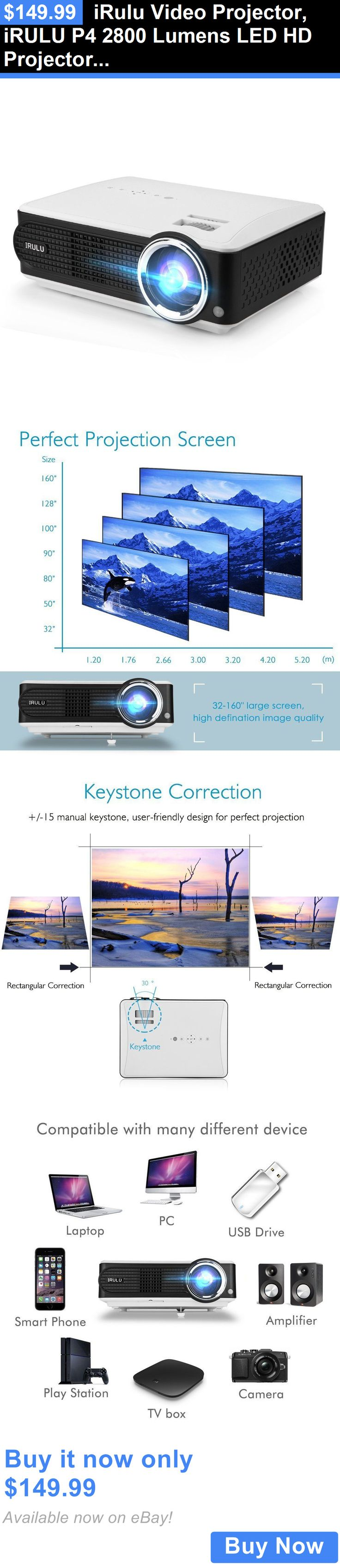 Home Theater Projectors: Irulu Video Projector, Irulu P4 2800 Lumens Led Hd Projector, 1080P. BUY IT NOW ONLY: $149.99