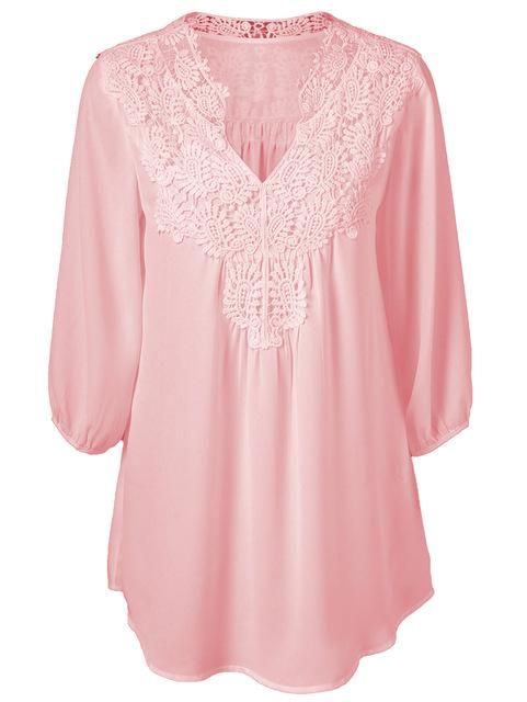 c1375697e12 5XL Plus Size Tops Women Chiffon Blouse Shirt Lace Up Blouses V neck Loose  Blusas Work Ladies Clothes Tunic 2017 Spring