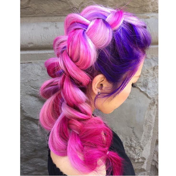 Chubby French braid decorated with pink hair and purple hair #hotonbeauty bright hair neon hair