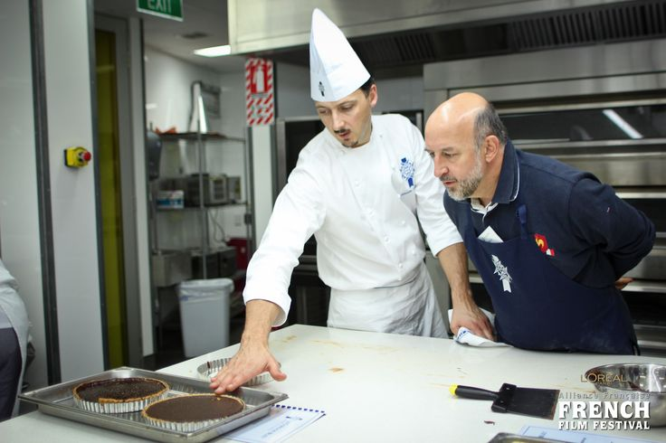 Head Chef de Pâtisserie Sébastien Lambert with His Excellency Mr. Francis Etienne, French Ambassador to NZ, during a hands-on Pâtisserie course at LCBNZ in June 2013.