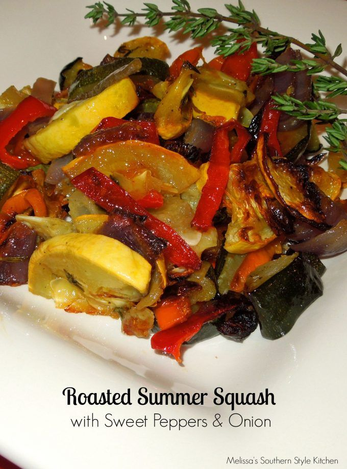 Roasted Summer Squash With Sweet Peppers And Onion - I really love this simple elegant side dish featuring a brilliant display of color in the squash, bell peppers and onions. I recently had dinner at a high brow local eatery here in town, and they served roasted squash as one of their premium side dishes. I ordered it, expecting something really magnificent, and when my dinner arrived, I was a little taken aback by the Chef's approach to this dish.