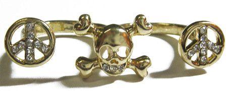 Anel duplo Caveira Peace dourado #skull #ring #caveira #anel
