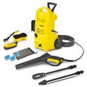 These units come with wheels so it's easier to move them from task to task. The Karcher 1600 psi unit is ideal for smaller households.     It's way faster than a hose for washing your car, hosing off your lawn furniture, or washing your grill. It stores conveniently in a small space, and comes with a bonus car care kit.