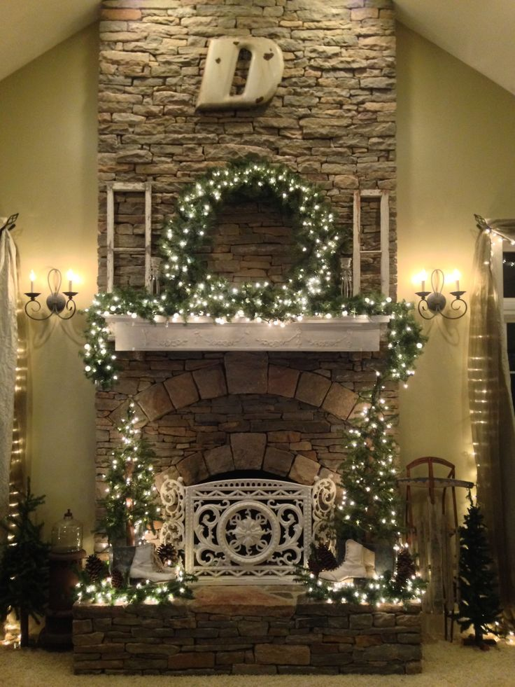 Cottage style Christmas fireplace and mantle decor ♥
