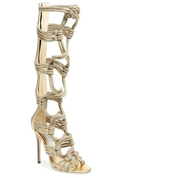 Jimmy Choo 'Keane' Braided Rope Gladiator Sandal Natural/ Black/ Gold... ($1,197) ❤ liked on Polyvore featuring shoes, sandals, heels, ancient greek sandals, gold shoes, heeled sandals, greek sandals and gold gladiator sandals