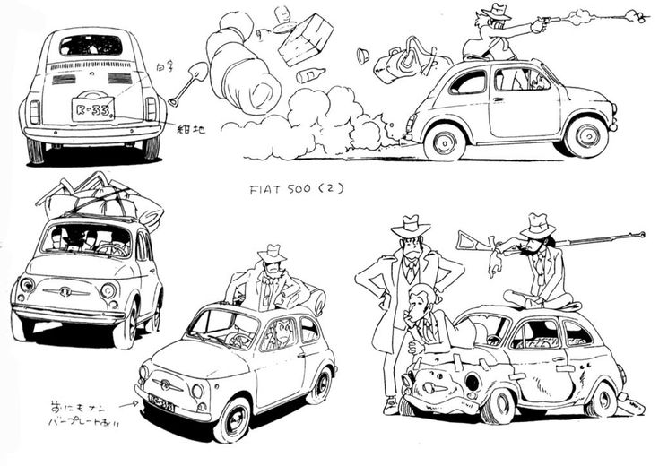 Fiat 500 model sheet from The Castle of Cagliostro / ルパン三世 カリオストロの城 - Art by 宮崎 駿 Hayao Miyazaki* Concept Sketches | © Studio Ghibli* • Blog/Website | (www.ghibli.jp) ★ || CHARACTER DESIGN REFERENCES (www.facebook.com/CharacterDesignReferences & pinterest.com/characterdesigh) • Love Character Design? Join the Character Design Challenge (link→ www.facebook.com/groups/CharacterDesignChallenge) Share your unique vision of a theme, promote your art in a community of over 25.000 artists! || ★
