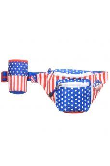 American Flag Fanny Pack w/ Koozie