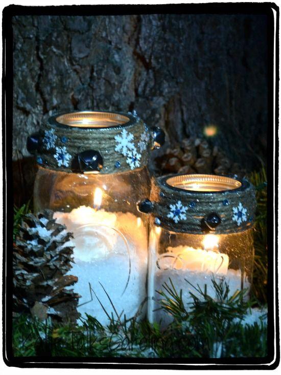 Snowy Mason Jar Winter Candle Craft