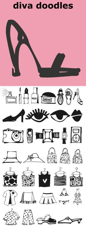 """40 little icons... a brilliant mix of charming girl things. Diva Doodles can be found in the book """"Indie Fonts 3, a Compendium of Digital Type from Independent Foundries""""."""