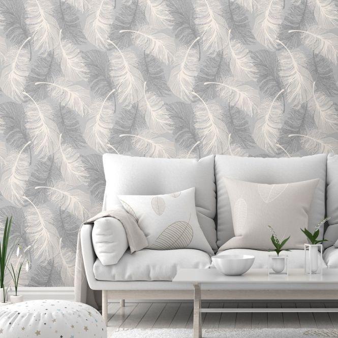 Feathers Blown Vinyl Wallpaper Glitter Dappled Grey White Grey And White Wallpaper Vinyl Wallpaper White Wallpaper