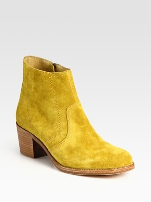 A.P.C. Classic Suede Ankle Boots in yellow