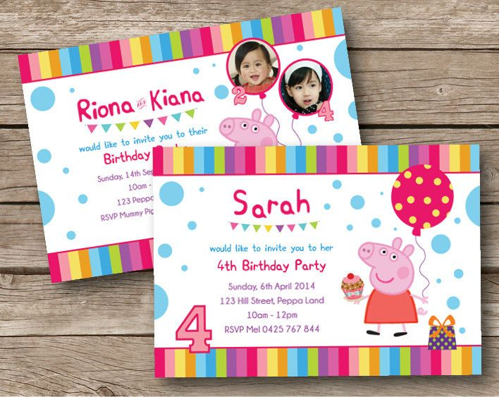 41 best peppa invitation images – Personalised Birthday Invitations for Kids