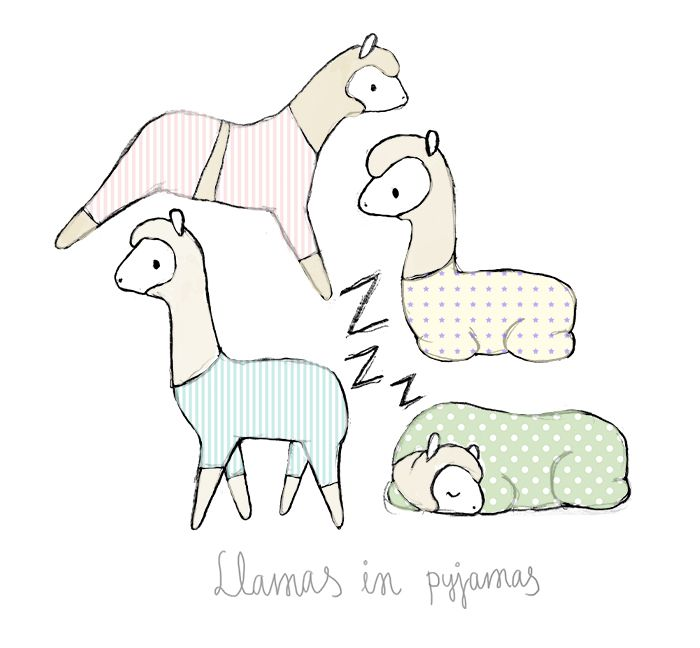 Llamas in pyjamas - Tintin Illustrations #illustration