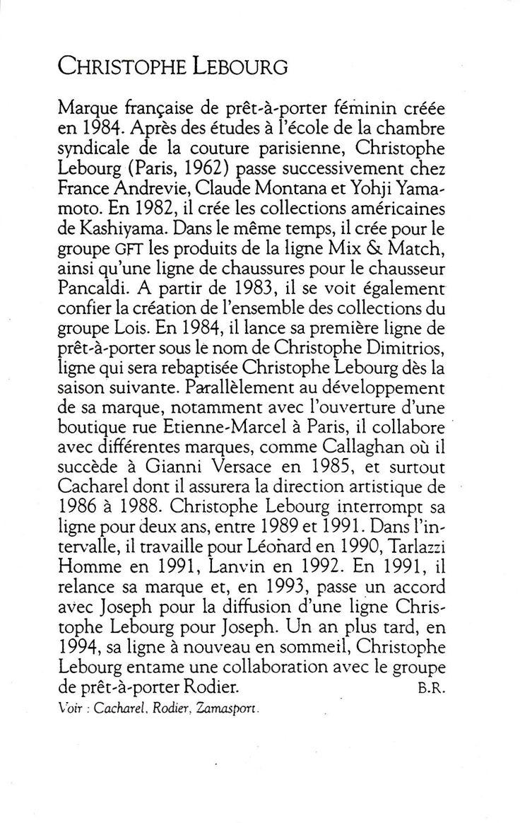 LE DICTIONNAIRE DE LA MODE / CHRISTOPHE LEBOURG