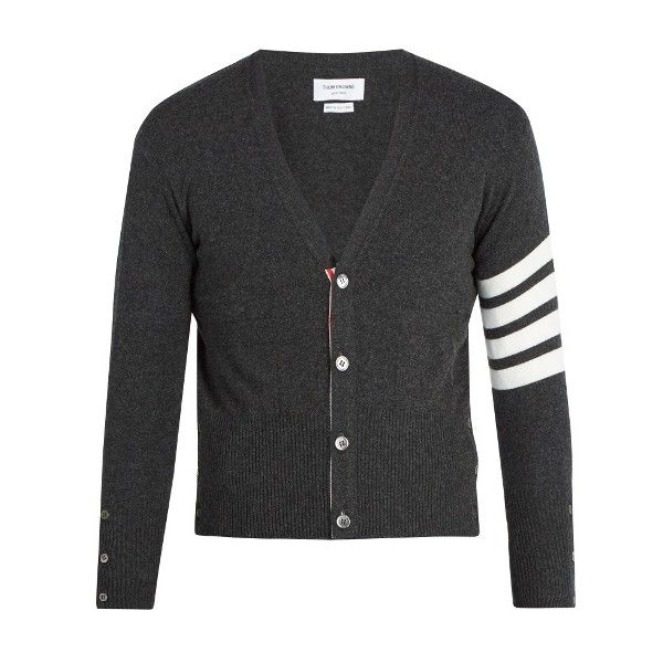 Thom Browne V-neck striped-sleeve cashmere cardigan ($1,750) ❤ liked on Polyvore featuring men's fashion, men's clothing, men's sweaters, dark grey, mens slim fit sweaters, mens cashmere cardigan sweater, mens cardigan sweaters, mens v-neck cashmere sweaters and mens cashmere sweaters