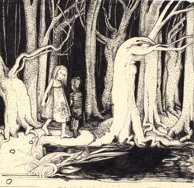 Image result for paintings and artwork hansel and gretel following the trail of moonlit pebbles