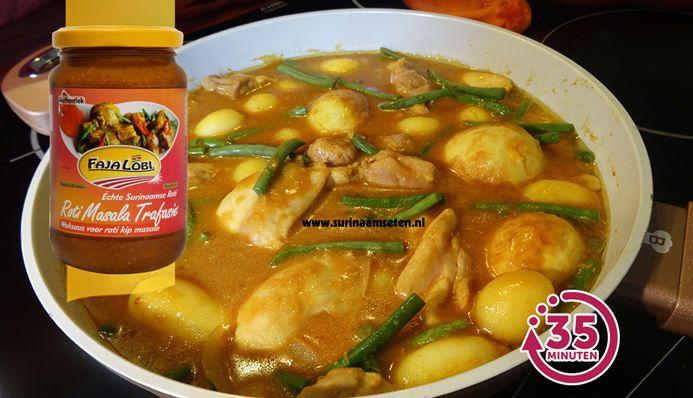 Surinaams eten – Snelle Roti Kip Masala met gefrituurde hardgekookte eieren, kousenband en krieltjes
