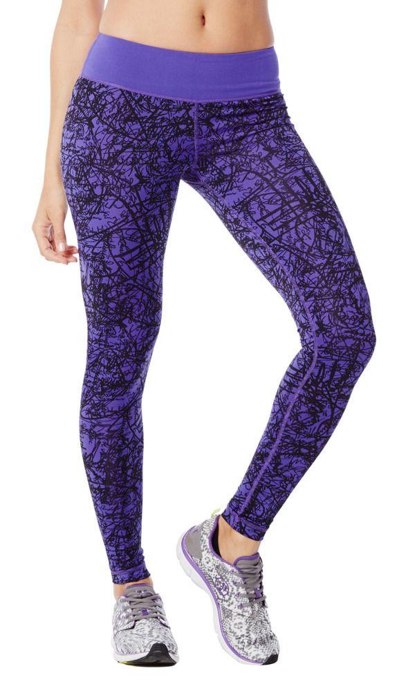 damen scribble perfect long leggings violett zumba. Black Bedroom Furniture Sets. Home Design Ideas