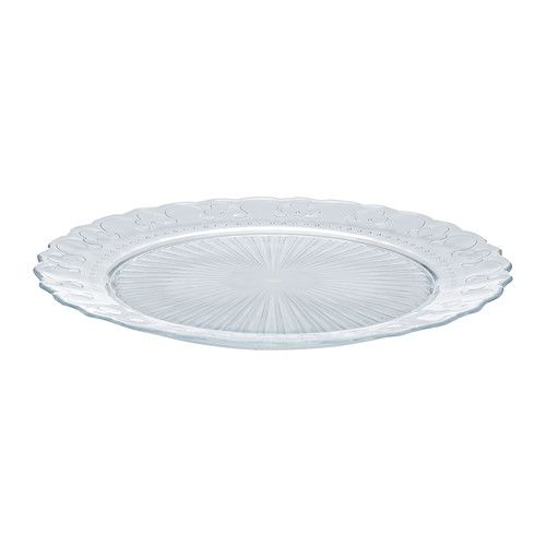 IKEA - FRODIG, Plate, Made of tempered glass, which makes the plate durable and extra resistant to impact.You can easily create a festive atmosphere using this dinnerware, which is inspired by bridal gowns and has edging that resembles lace.Matches well with other dinnerware and materials.