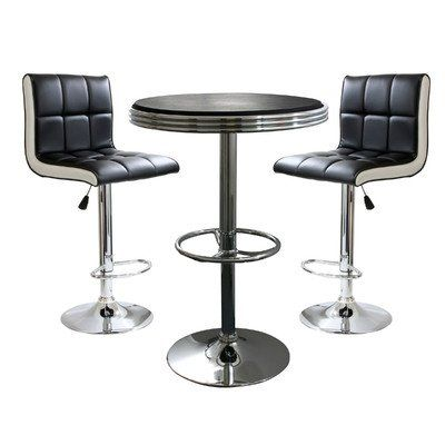 Classic style easily fits into the decor of nearly any room. Makes a great addition to your kitchen, bar, game room, or basement. Set includes 1 adjustable bar height table and 2 adjustable counter height bar stools. Bar stool adjustable seat height: 24 to 32 in., bar stool weight capacity: 265 lbs., max seat back height 41 in. Bar table adjustable height: 26 to 36 in., bar table weight capacity: 200 lbs., 25 inch square diameter table top.
