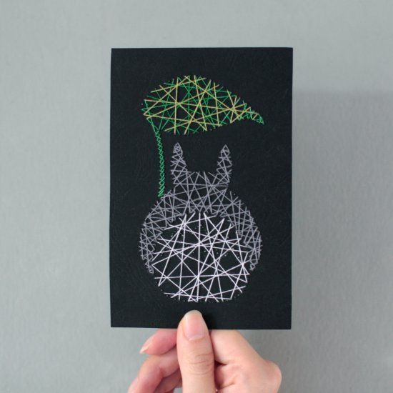 A minimalistic DIY Totoro greeting card created in 3 steps - drawing, etching & threading. Full step by step tutorial + template included.