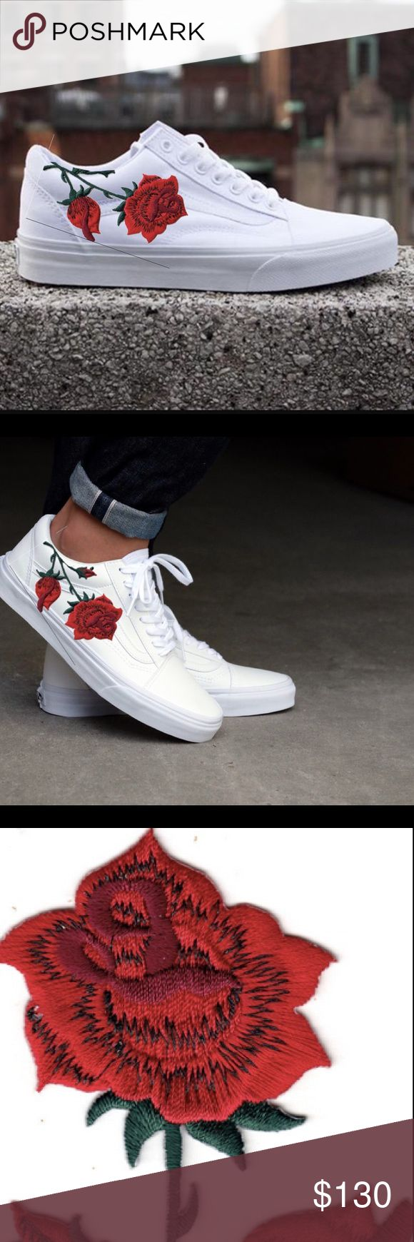 Vans Old Skool White Embroidered Red Rose  customize your own!! Beautiful sleek design of vans old skools mixed with a red rose embroidered to give you these phenomenal shoes. All of the shoes will be purchased brand new and handmade by me (Avery ) The vans brand new are 55$ for low tops and 65$ for high tops!! And the cost of work and the patch is 50$  Can customize with the options of: COLOR: white, black SIZE: any! SHOE STYLE: low tops, high tops  MESSAGE ME FOR MORE INFO!  Preview photo…
