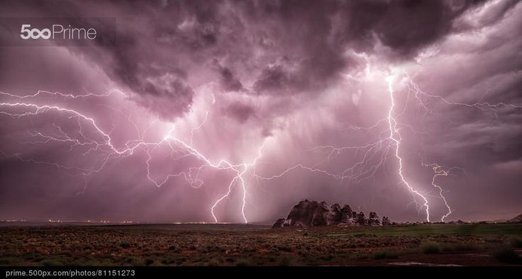 Lightning over Sand Hollow - stock photo