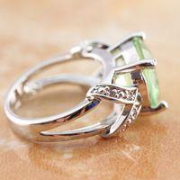 Round Cut verde amatista topacio blanco anillo de plata Sz 6 7 8 9 R1-0028