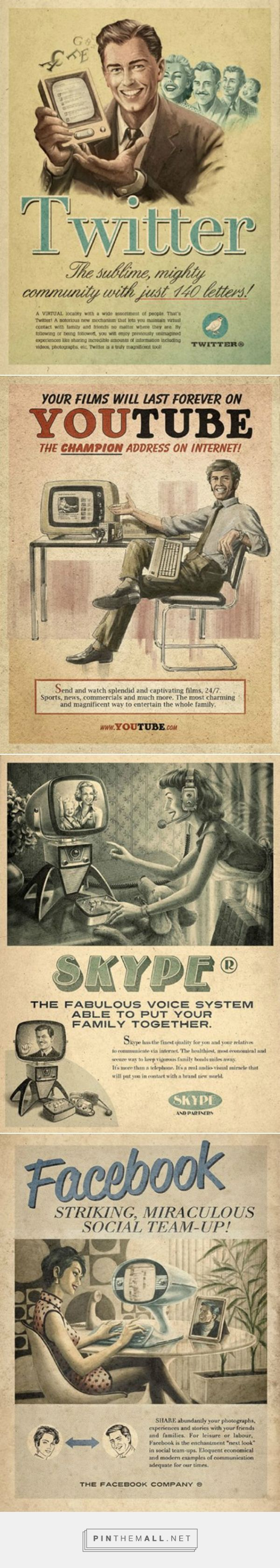 """Sao Paulo ad agency Moma Propaganda created a wonderful series of retro future ads for Facebook, Twitter, YouTube and Skype as part of the """"Everything Ages Fast"""" ad campaign for Maximidia Seminars."""