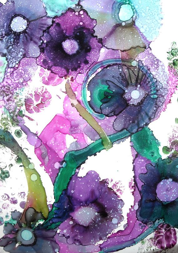 Alcohol Ink Original Art Work, Abstract Floral Painting, Purple Nature Artwork…