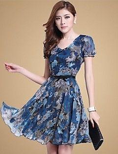 Estilo coreano das mulheres elegantes Mofansi Imprimir Ol Floral Big Size Chiffon vestido de manga curta (Cor da tela)