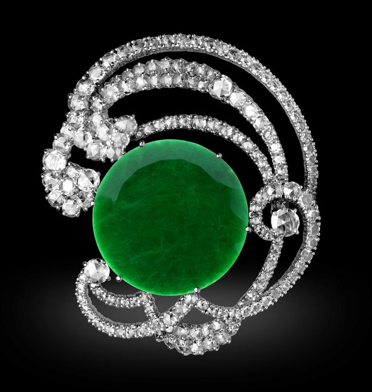 Jade Eclipse Brooch  by Michelle Ong.  White diamond in white gold
