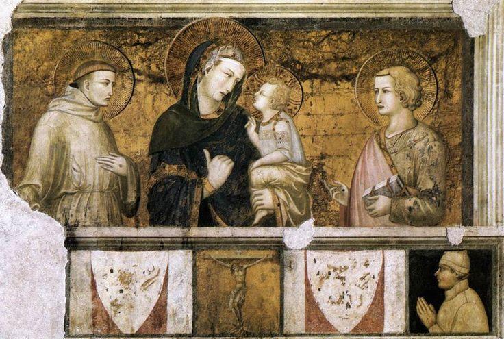 """Pietro Lorenzetti """"Vierge à l'enfant entre Saint François et Saint Jean"""""""
