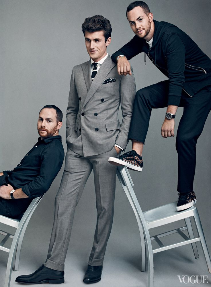 great example of unconventional posing for a group of guys. Love the color contrast in their clothing too.