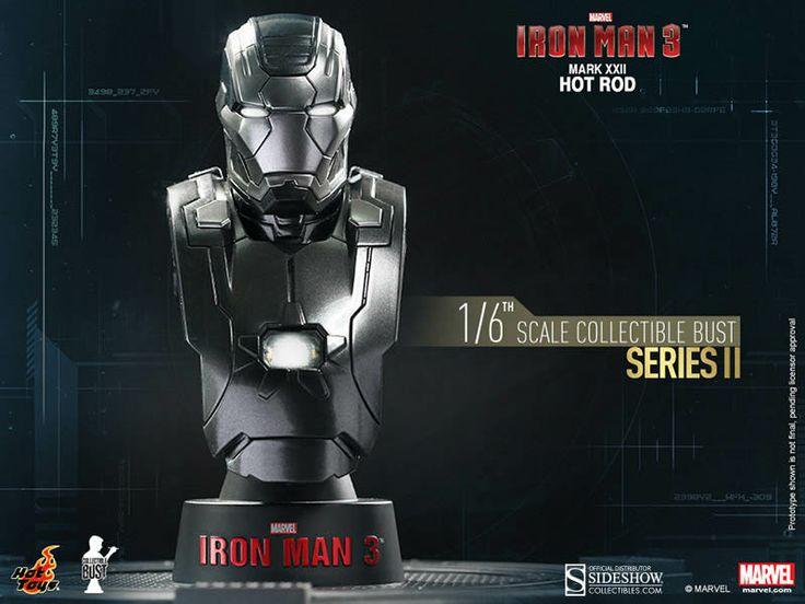Busto Mark XXII Hot Rod 11 cm. Iron Man 3. Serie 2. Sideshow Collectibles Espectacular busto para tu colección de la armadura Mark XXII Hot Rod 11 cm visto en el popular film Iron Man 3, a escala 1/6, con luz y 100% oficial y licenciado.