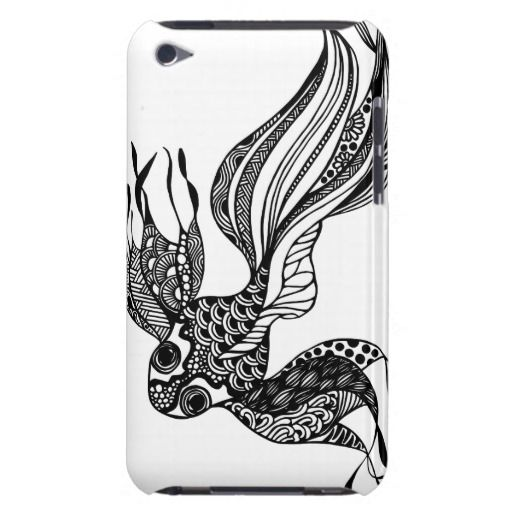 Gold fish #2 hand drawn art iPod case Barely There iPod Case