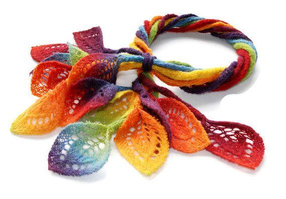 Rainbow Knit Scarf Rainbow Felt Scarf Free-form Scarf Rope #rainbowscarf #knitscarf #feltscarf #handmade
