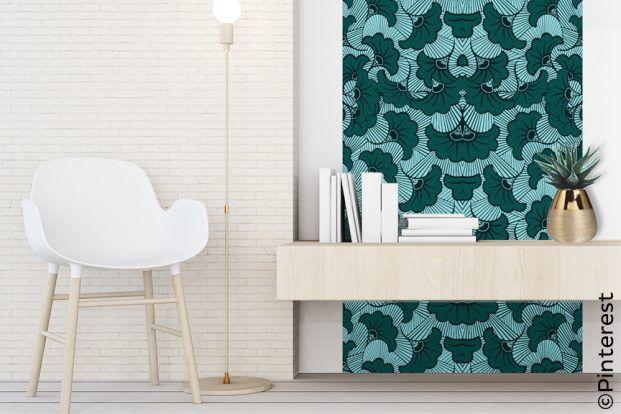 Une Frise Murale Bleue Papier Peint Adhesif Papier Peint Mobilier De Salon