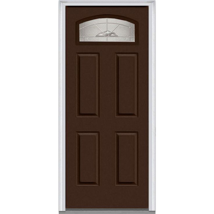 Milliken Millwork 31.5 in. x 81.75 in. Master Nouveau Decorative Glass Segmented 1/4 Lite 4 Panel Painted Majestic Steel Exterior Door, Polished Mahogany