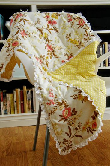 House Pretty Blog: DIY Vintage Baby Blanket - This beautiful vintage floral marries perfectly with the yellow polka dot! J'adore!!